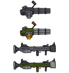 Cartoon machine guns and bazooka icons vector