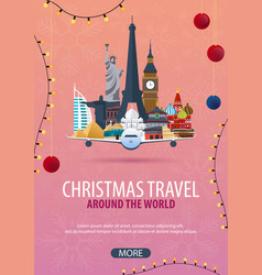 Christmas travel around the world winter travel vector