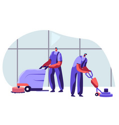 Cleaning company staff male characters in uniform vector