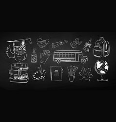 Collection new normal education objects vector