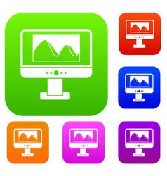 computer monitor with photo on screen set vector image