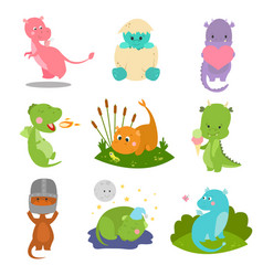 Cute kid baby dragon dinosaur fantasy animals vector