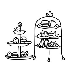 Cute two afternoon tea cake stand clipart hand vector