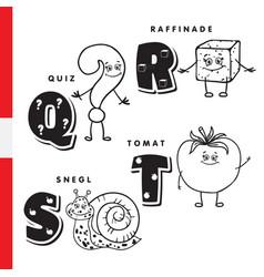 Danish alphabet question sugar snail tomato vector