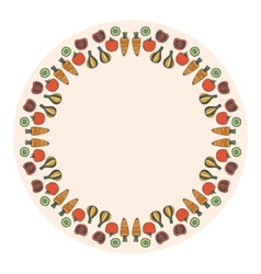 decorative round vegetables frame on the backgroun vector image