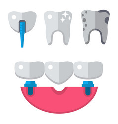 dentist medical tools icons health care vector image