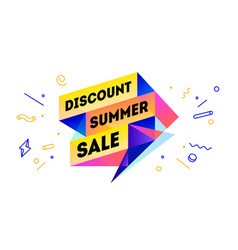 Discount summer sale 3d sale banner with text vector