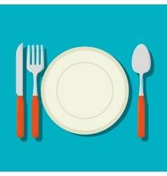 Dish with cutlery isolated icon vector