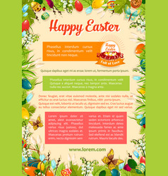 Easter poster template with egg and floral frame vector