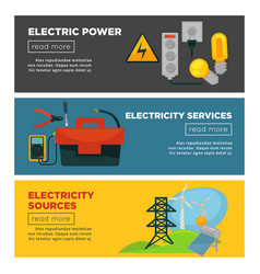 Electric power electricity sources and services vector