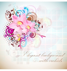 elegant composition of orchids vintage style vector image vector image