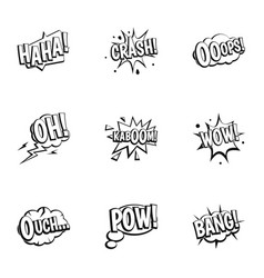 Emotions in speech bubble icons set outline style vector