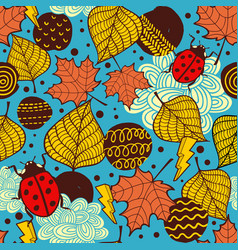 endless background with colorful autumn leaves vector image