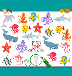 find one animal of a kind game for children vector image