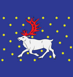 Flag of vesterbotten is a province in the north vector