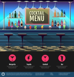 Flat style interior of cocktail bar vector