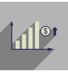 Flat web icon with long shadow money graph vector