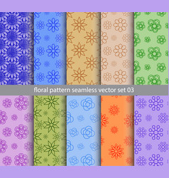floral pattern seamless set design for wallpaper vector image