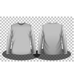 Front and back grey long sleeves t-shirt vector