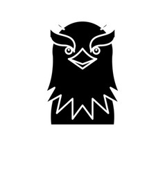 funny eagle black icon sign on isolated vector image