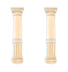 greek doodle column doric ionic corinthian columns vector image