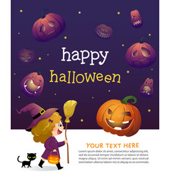halloween party invitation template card vector image