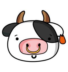 Happy cow head wild animal vector