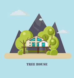 House on the tree for adults and kidsflat vector
