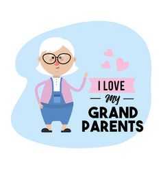 i love my grandparents card design vector image