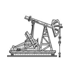 Industrial oil pump station sketch vector