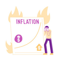 inflation market fall and depreciation concept vector image