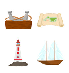 Isolated object marine and adventure icon set vector