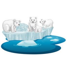 isolated picture polar bears on ice vector image