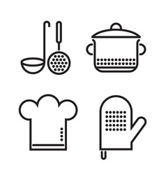 kitchen elements black linear vector image
