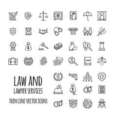 Law and lawyer services icons set for web design vector