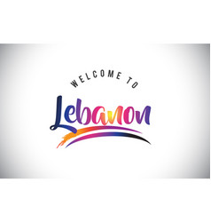 Lebanon welcome to message in purple vibrant vector