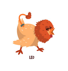 Leo zodiac sign funny chick character horoscope vector