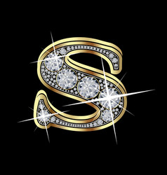 letter s with diamonds vector image