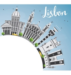 Lisbon Skyline with Gray Buildings Blue Sky vector