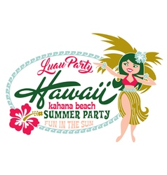 Luau party summer beach vector