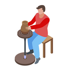 Man pottery icon isometric style vector