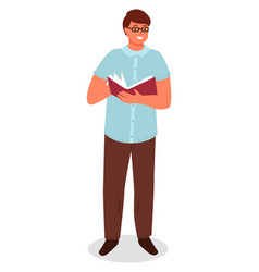 Man reading book cookbook adult person isolated vector