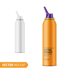 Matte aluminum nasal spray bottle with label vector