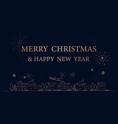 Merry christmas city simple outline linear style vector