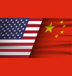 mixed usa and china flag trade war concept vector image