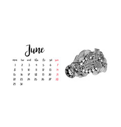 monthly desk calendar template for month june vector image