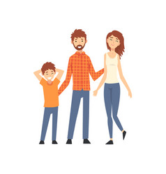 mother father and son happy family with child vector image
