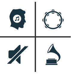 multimedia icons set collection of phonograph vector image