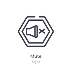Mute outline icon isolated line from signs vector