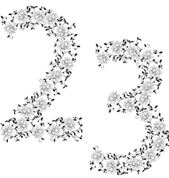 ornamental number 23 vector image